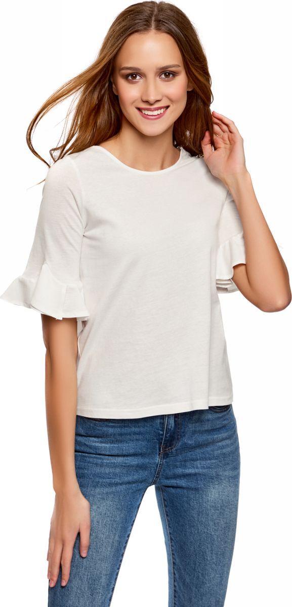Футболка женская oodji Ultra, цвет: белый. 14201039B/48471/1200N. Размер XS (42)14201039B/48471/1200NСтильная женская футболка, выполненная из натурального хлопка, станет отличным дополнением вашего гардероба. Модель с круглым вырезом горловины и короткими рукавами, оформленными оборкой.