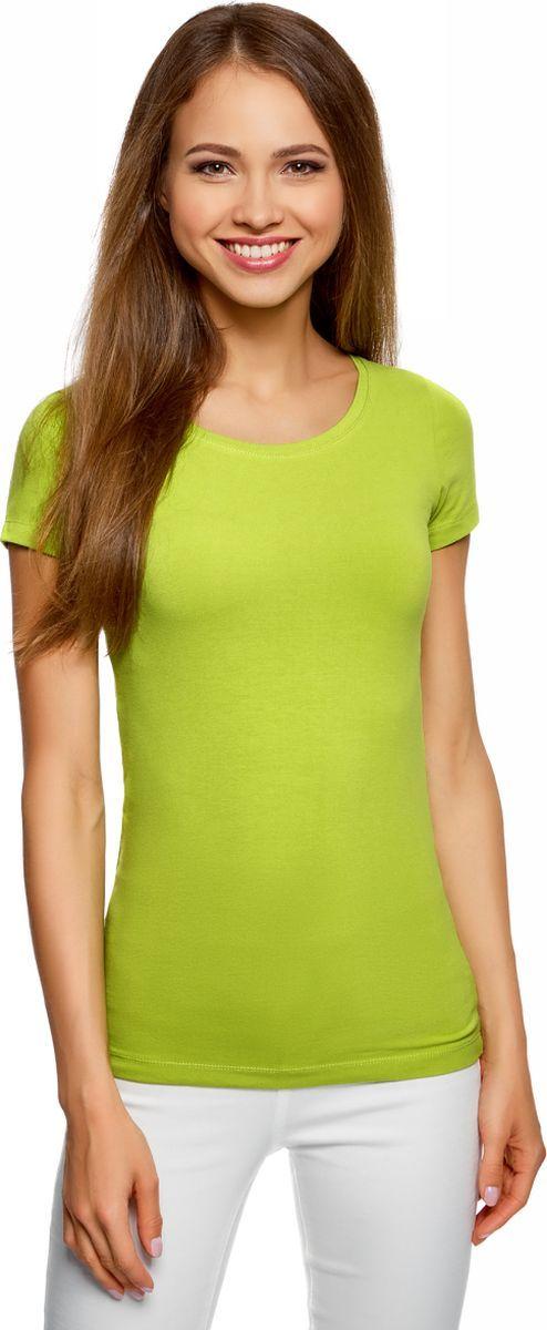 Купить Футболка женская oodji Ultra, цвет: салатовый. 14701005-7B/46147/6B00N. Размер S (44)
