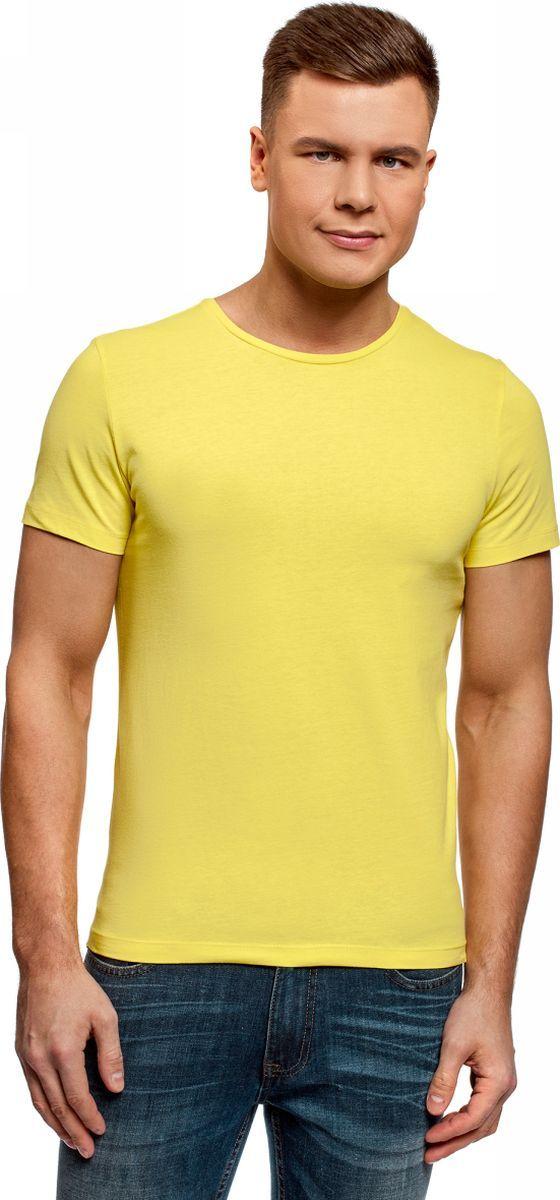 Футболка мужская oodji Basic, цвет: светло-желтый. 5B621002M/44135N/5000N. Размер M (50)5B621002M/44135N/5000NМужская футболка oodji Basic изготовлена из высококачественного натурального хлопка. Модель с короткими рукавами и круглым вырезом горловины дополнена эластичной вставкой в цвет изделия по горловине.