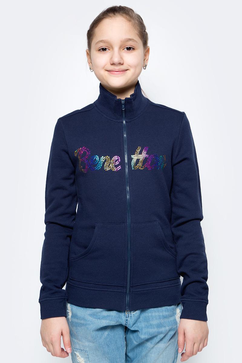 Толстовка для девочек United Colors of Benetton, цвет: синий. 3J68C5339_13C. Размер 1303J68C5339_13C