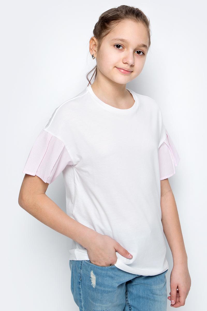 Футболка для девочек United Colors of Benetton, цвет: белый. 3096C13JS_101. Размер 1303096C13JS_101