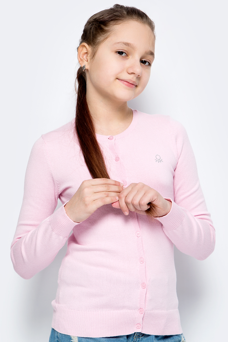 Кардиган для девочки United Colors of Benetton, цвет: розовый. 12DRC5085_09H. Размер 160