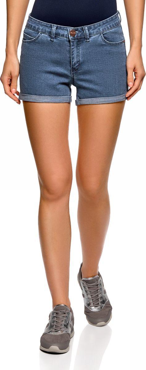 Шорты женские oodji Ultra, цвет: синий, джинс. 12807082-1B/45877/7500W. Размер 29 (48)12807082-1B/45877/7500WШорты джинсовые стретч с отворотами