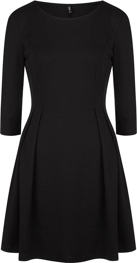 Платье Only, цвет: черный. 15150821. Размер S (42)15150821Платье от Only выполнено из эластичного трикотажа с добавлением вискозы. Модель приталенного кроя с рукавами 3/4 и круглым вырезом горловины.