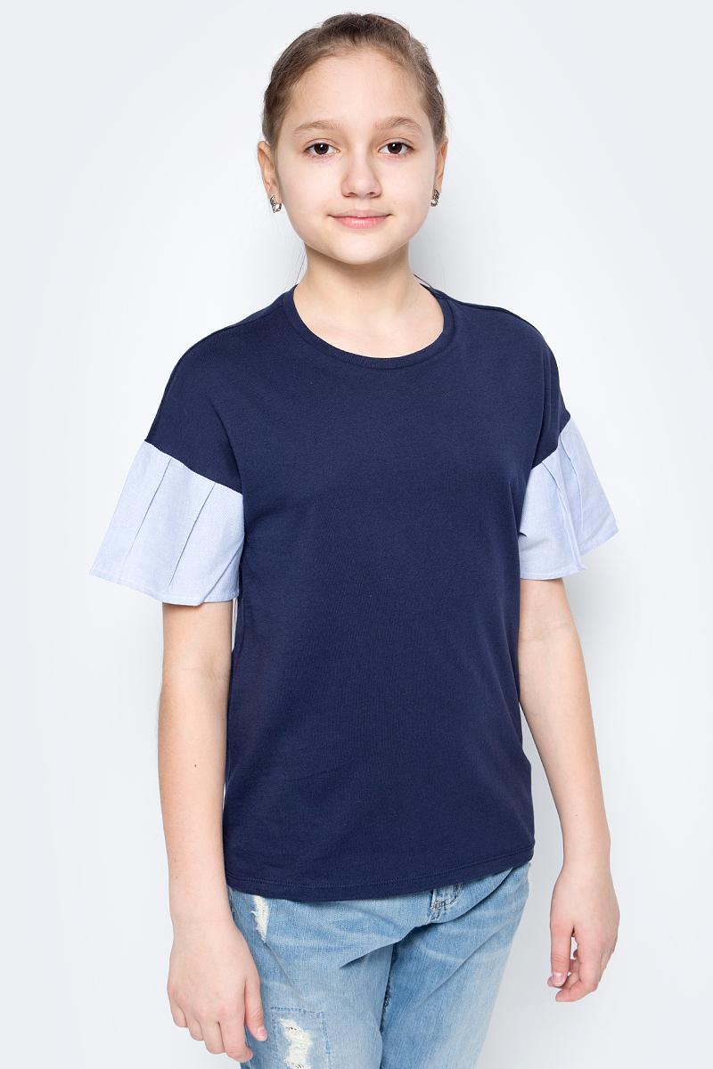 Футболка для девочек United Colors of Benetton, цвет: синий. 3096C13JS_13C. Размер 1503096C13JS_13C