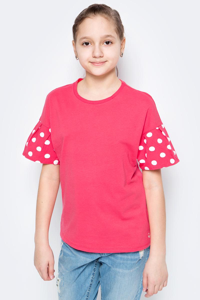 Футболка для девочек United Colors of Benetton, цвет: красный. 3096C13JS_01L. Размер 1703096C13JS_01L