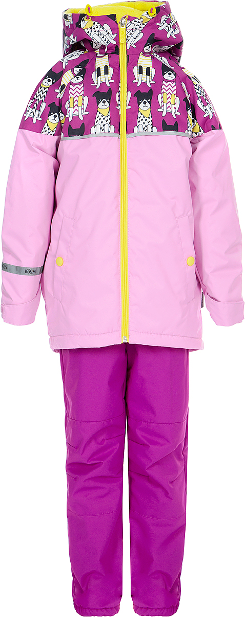 Комплект верхней одежды для девочки Boom!, цвет: розовый. 80046_BOG. Размер 12280046_BOGЯркий комплект Boom! выполнен из ткани с мембранным покрытием. Куртка с капюшоном застегивается на застежку-молнию. Модель дополнена двумя втачными карманами на кнопках.