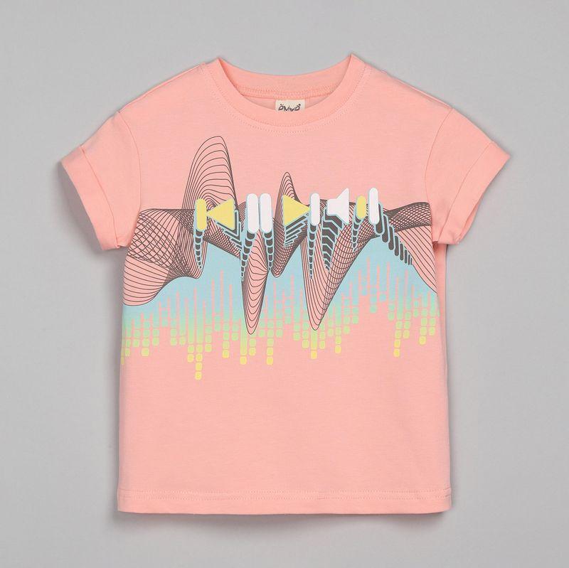 Футболка для девочки Ёмаё, цвет: розовый. 27-6151. Размер 11027-6151Футболка из эластичного хлопка с коротким рукавом с подворотом и круглым вырезом горловины. Спереди оригинальный принт в музыкальном стиле. Такая футболка дополнит гардероб любой модницы и станет любимой вещью! Модель рассчитана на демисезонный период.