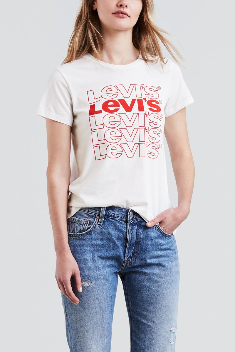 Футболка женская Levis®, цвет: белый. 1736903210. Размер M (46)1736903210Футболка из мягкого хлопка стандартного кроя украшена стильным графическим принтом.