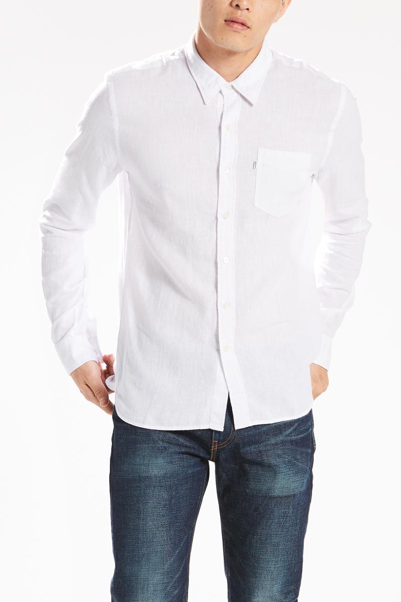 Рубашка мужская Levis®, цвет: белый. 6582403710. Размер M (48)6582403710Рубашка мужская Levis® выполнена из льна и хлопка. Модель с длинными рукавами и отложным воротником застёгивается на пуговицы. Изделие на груди дополнено одним накладным карманом.