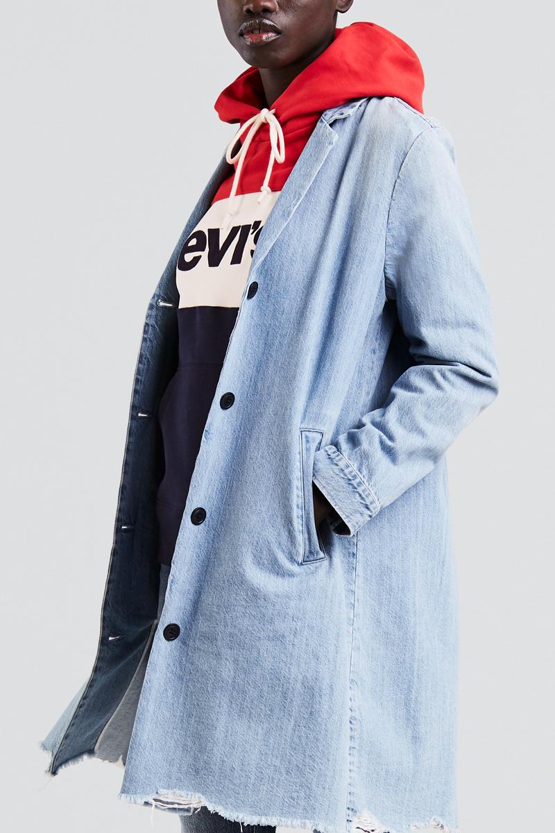 Пальто женское Levis®, цвет: голубой. 3944500030. Размер XS (42)3944500030Пальто женское Levis® выполнено из натурального хлопка. Модель прямого силуэта на пуговицах.