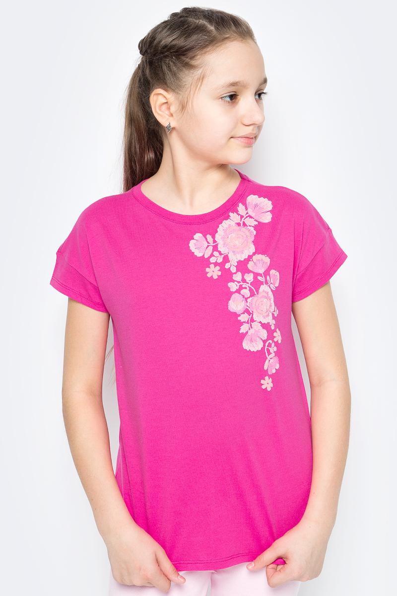 Футболка для девочек United Colors of Benetton, цвет: розовый. 3096C13JE_32U. Размер 1203096C13JE_32U