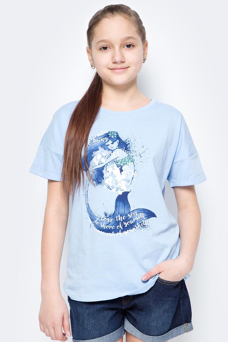 Футболка для девочки United Colors of Benetton, цвет: голубой. 3096C13KE_20B. Размер 150 футболка для девочки united colors of benetton цвет серый 3096c13ke 501 размер 150