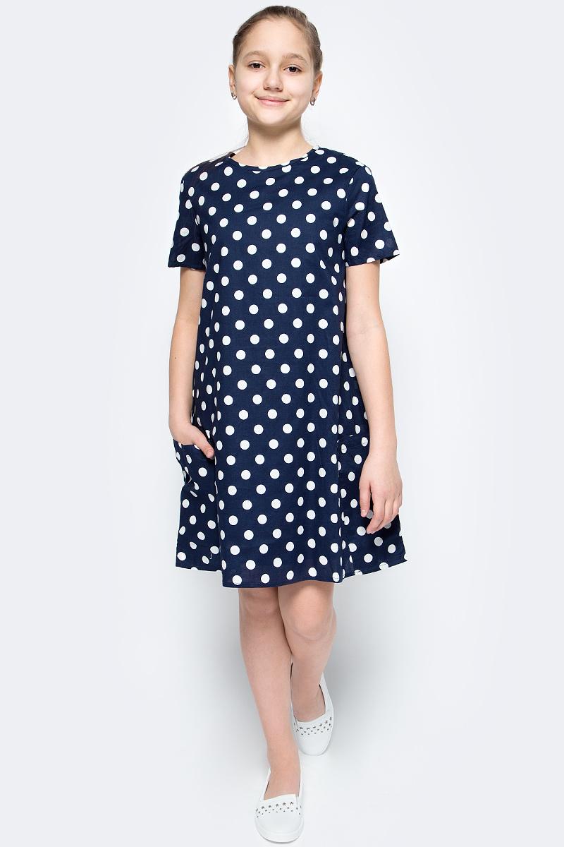 Платье для девочки United Colors of Benetton, цвет: синий. 4XB35V920_915. Размер 1604XB35V920_915Платье от United Colors of Benetton выполнено из натурального хлопка. Модель с короткими рукавами и круглым вырезом горловины на спинке застегивается на потайную молнию, по бокам дополнена накладными карманами.