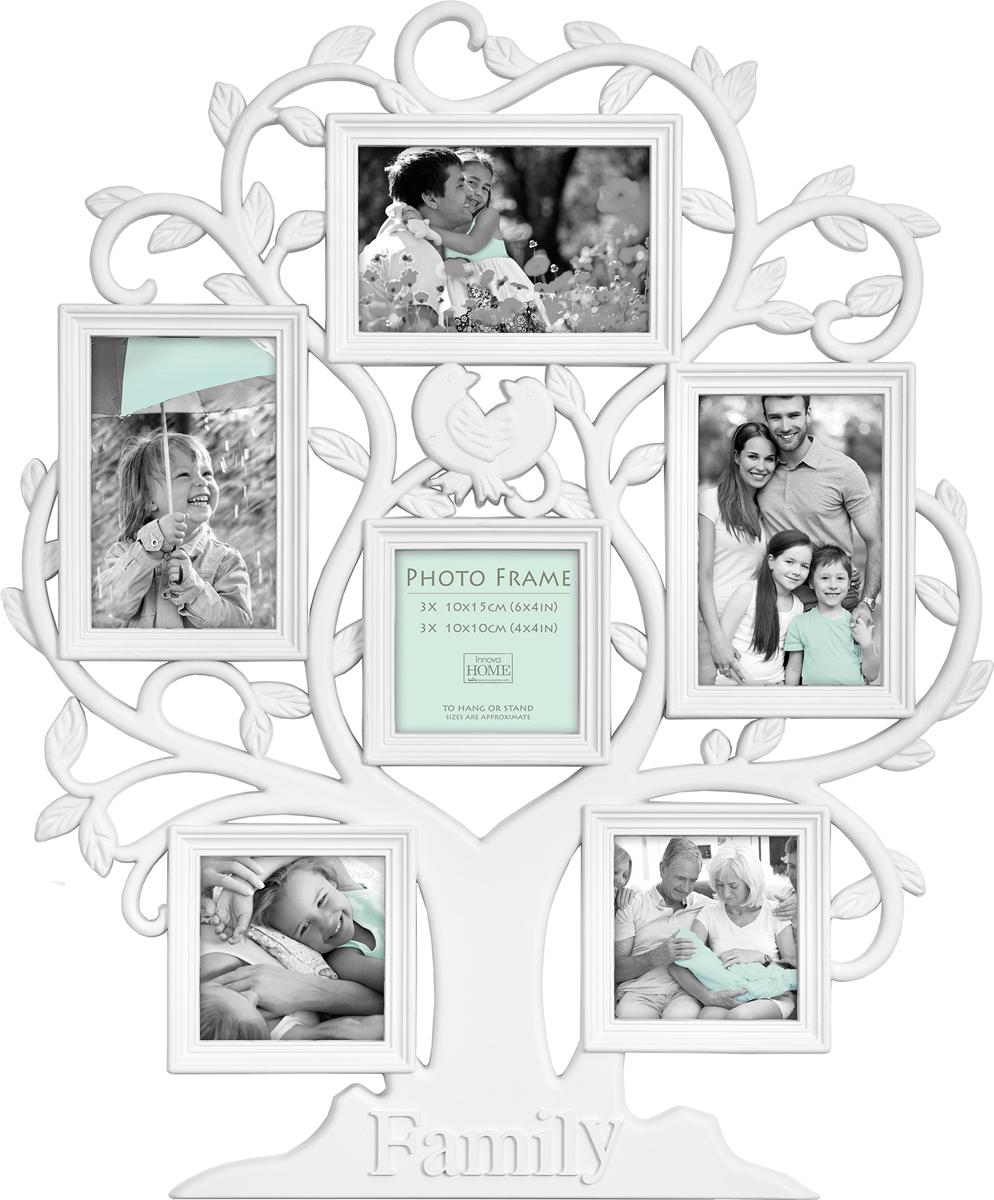 Фоторамка Innova Maggiore Family Tree, на 6 фотоPI07217Фоторамка Innova Maggiore Family Tree - прекрасный способ красиво оформить ваши фотографии. Изделие рассчитано на 6 фотографий. Фоторамка выполнена из пластика. Ее можно подвесить на стену, для чего с задней стороны предусмотрены специальные металлические петельки. Такая фоторамка поможет сохранить на память самые яркие моменты вашей жизни, а стильный дизайн сделает ее прекрасным дополнением интерьера.