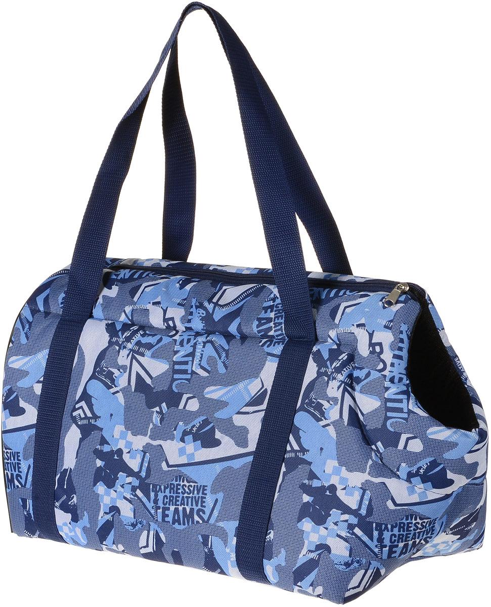 Сумка-переноска для животных  Теремок , цвет: голубой, синий, белый, 41 х 22 х 25 см - Переноски, товары для транспортировки