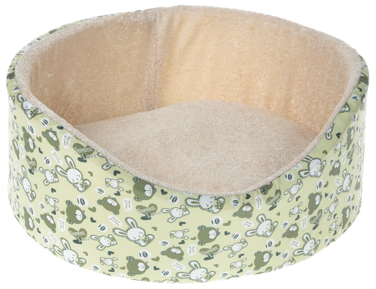 Лежак для животных GLG Нежность, цвет: зеленый, бежевый, 40 x 36 x 15 смL002/A_зеленый, бежевыйЛежак для животных GLG Нежность, цвет: зеленый, бежевый, 40 x 36 x 15 см