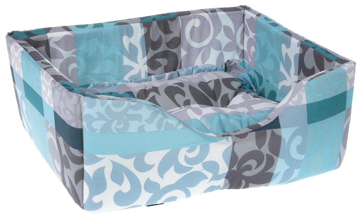 Лежак для собак и кошек Гамма, цвет: голубой, серый, сиреневый, 52 х 36 х 21,5 см подставка с мисками для кошек собак гамма 1