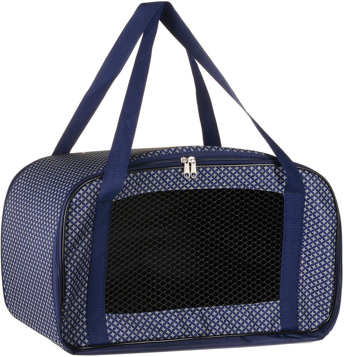 Сумка-переноска для животных Теремок, цвет: синий, 47 х 24 х 22 см сумка переноска гамма для животных с сеткой цвет красный в горошек 35 см х 20 см х 24 см