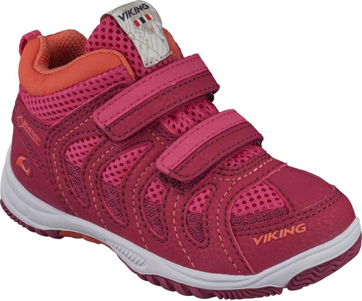 Кроссовки детские Viking Cascade II MID GTX, цвет: малиновый. 3-46510-01739. Размер 333-46510-01739Кроссовки от Viking выполнены из дышащего текстиля. Модель фиксируется на ноге при помощи двух ремешков на липучках. Подкладка и стелька из текстиля гарантируют комфорт при носке. Износостойкая подошва, выполненная из резины, долговечна и обеспечивает высокую устойчивость к деформациям.