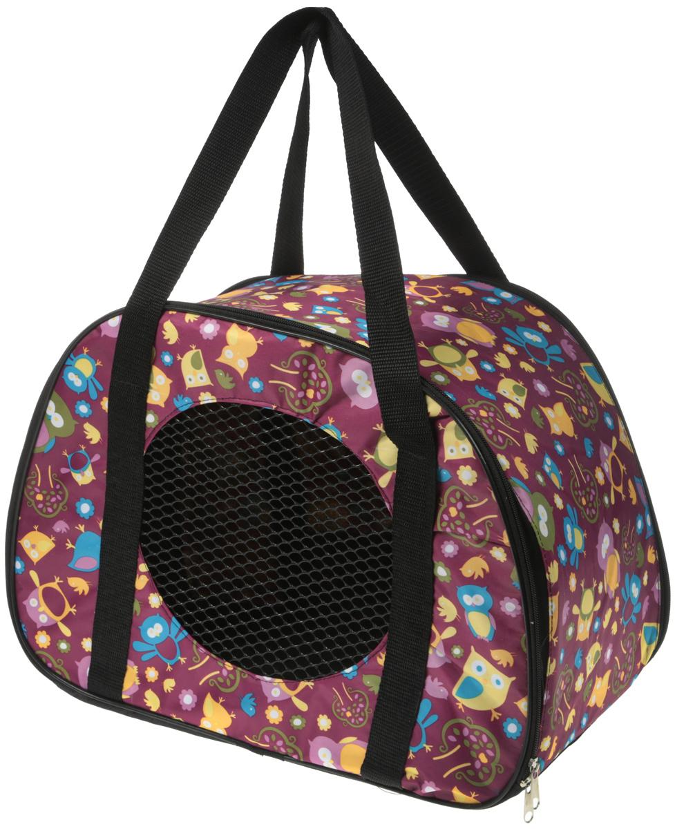 Сумка-переноска для животных Теремок, цвет: сливовый, 45 х 22 х 30 см сумка переноска для животных теремок цвет голубой синий белый 44 х 19 х 20 см