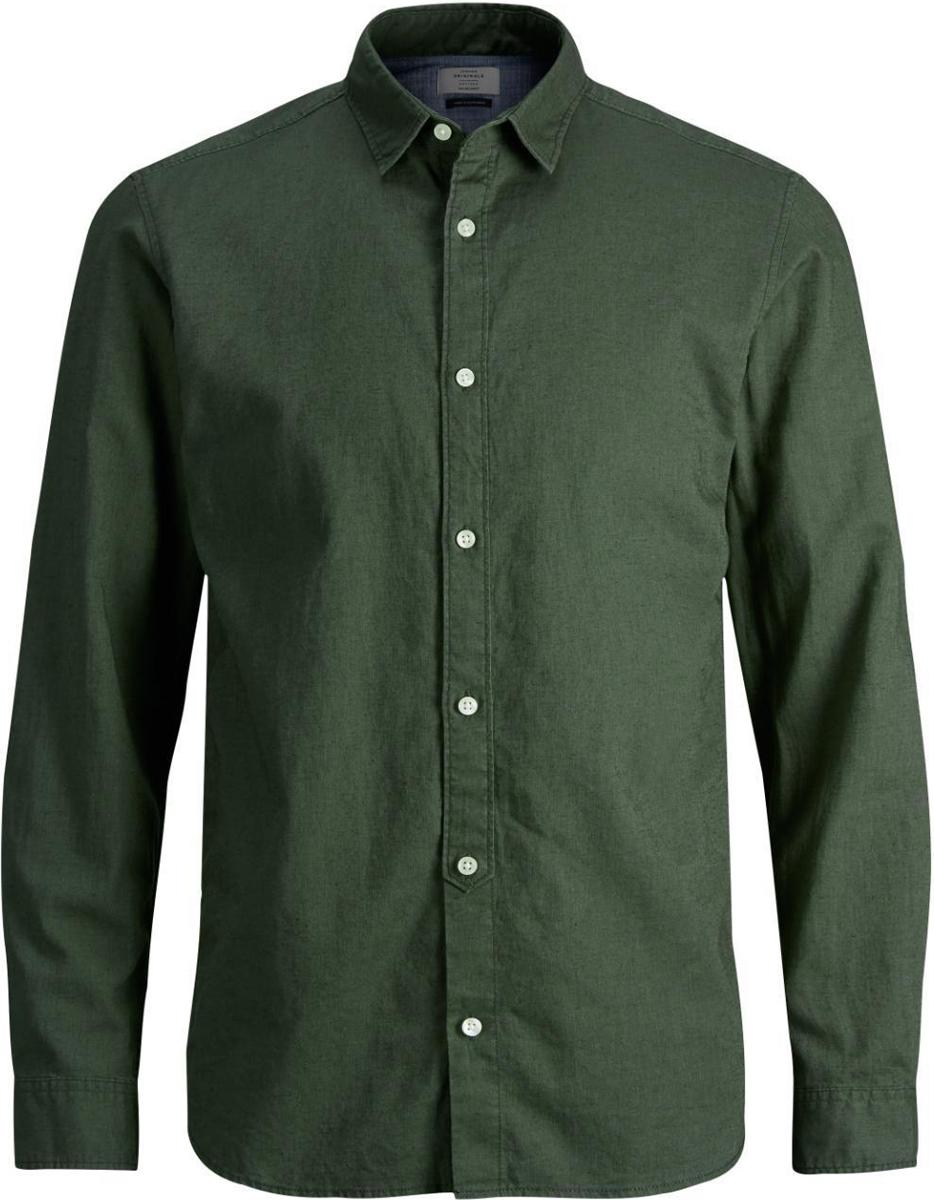 Рубашка мужская Jack & Jones, цвет: зеленый. 12129187. Размер XL (52)12129187