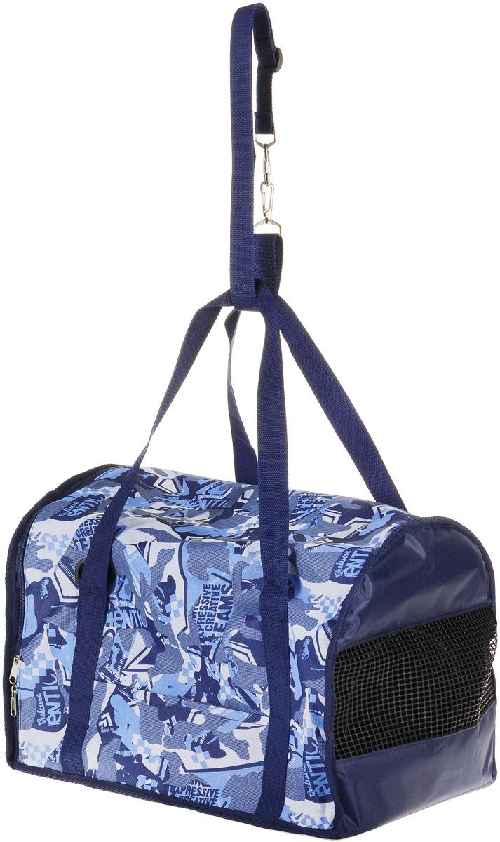 Сумка-переноска для животных Теремок, цвет: синий, голубой, белый, 45 х 29 х 30 см сумка переноска для животных теремок цвет голубой синий белый 44 х 19 х 20 см