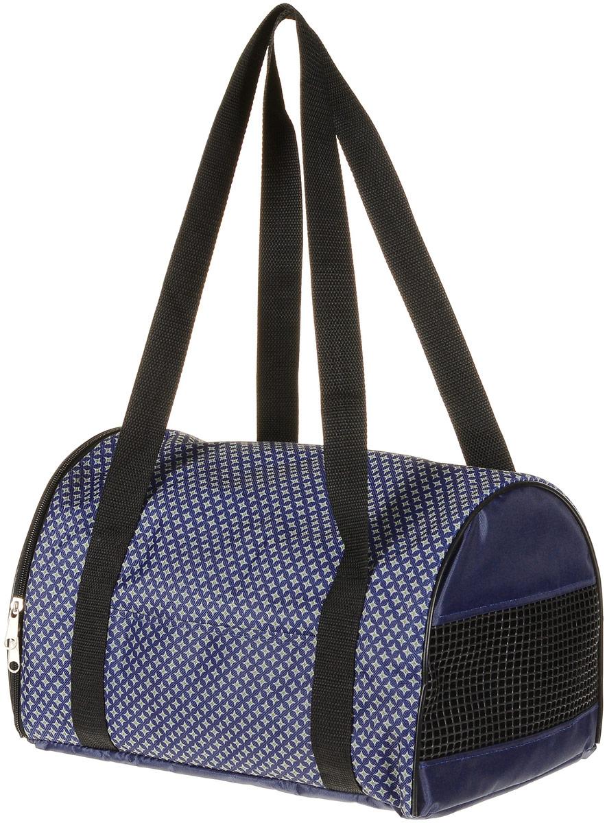 Сумка-переноска для животных Теремок Звезды, цвет: синий, 34 х 22 х 21 см сумка переноска для животных теремок цвет голубой синий белый 44 х 19 х 20 см