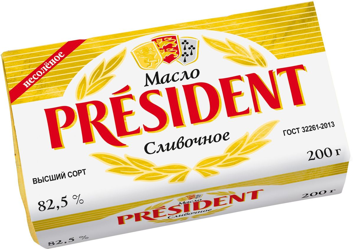 President Масло кисло-сливочное, несоленое 82,5%, 200 г president масло кисло сливочное несоленое 82 5% 200 г