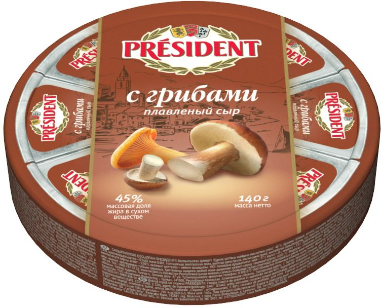 President Сыр с Грибами, плавленый 45%, 140 г сок спелёнок яблоко и виноград с йодом с 6 мес 200 мл