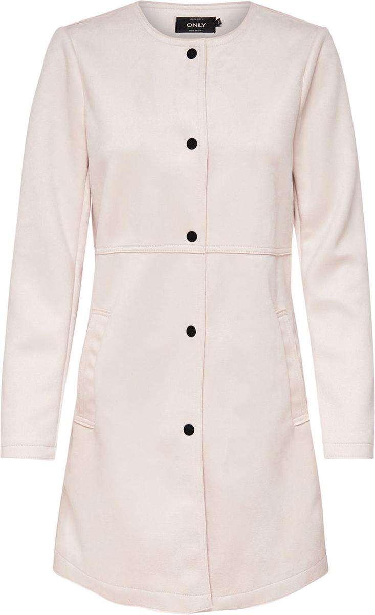 Пальто женское Only, цвет: серый. 15148569. Размер S (42)15148569Легкое пальто от Only выполнено из полиэстера. Модель с длинными рукавами и круглым вырезом горловины застегивается на кнопки. По бокам имеются втачные карманы.