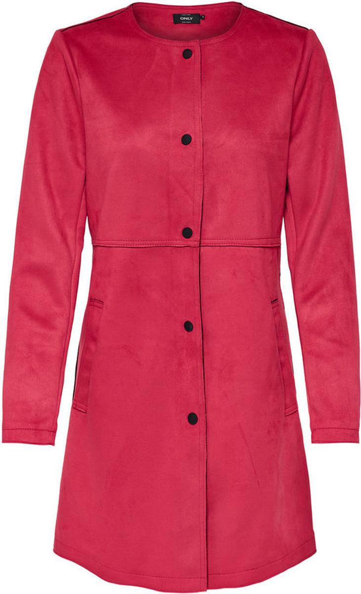 Пальто женское Only, цвет: красный. 15148569. Размер L (46)15148569Легкое пальто от Only выполнено из полиэстера. Модель с длинными рукавами и круглым вырезом горловины застегивается на кнопки. По бокам имеются втачные карманы.