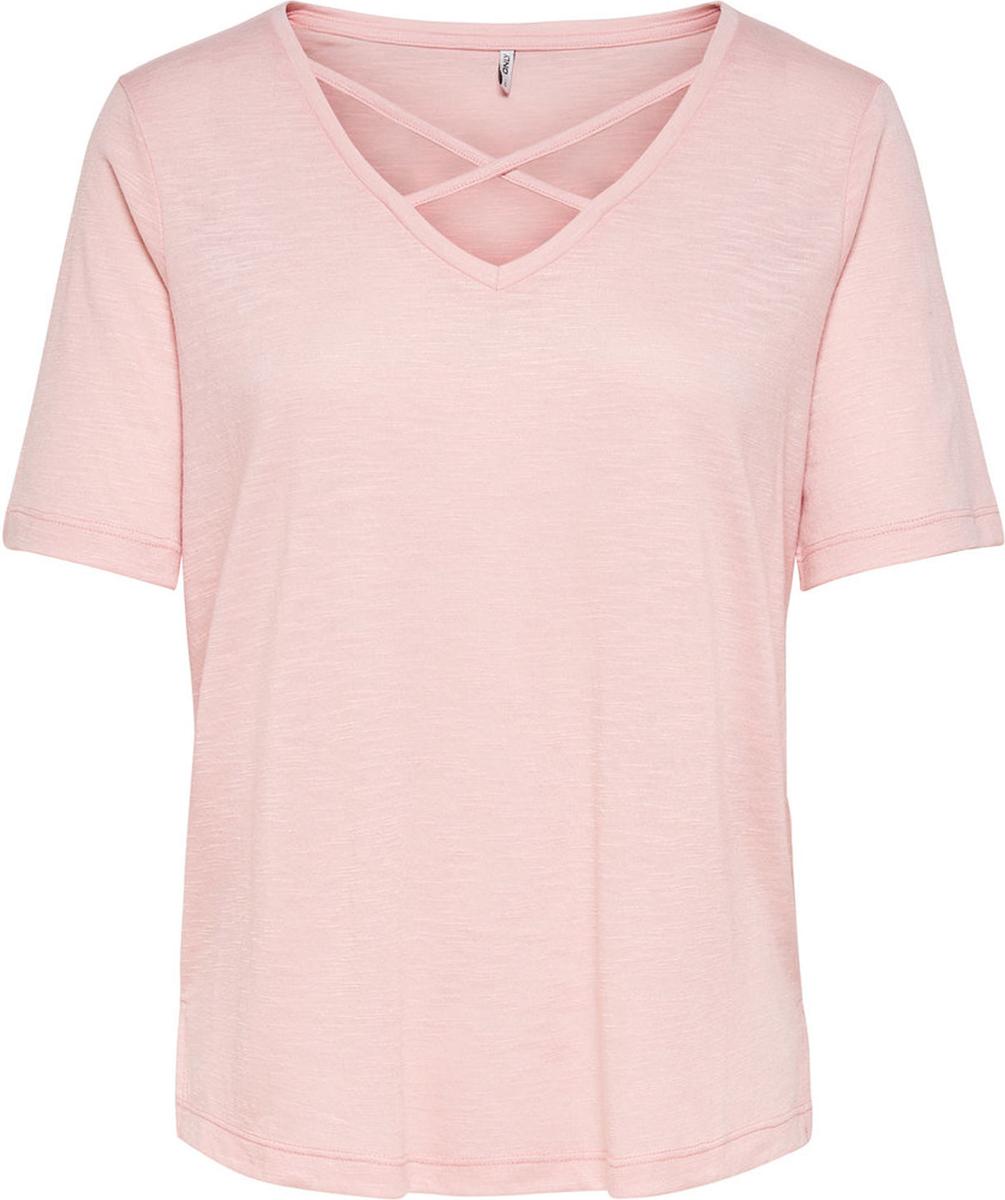 Блузка женская Only, цвет: розовый. 15151006. Размер L (46)15151006Блузка от Only выполнена из полиэстера с добавлением вискозы. Модель с короткими рукавами и V-образным вырезом горловины.