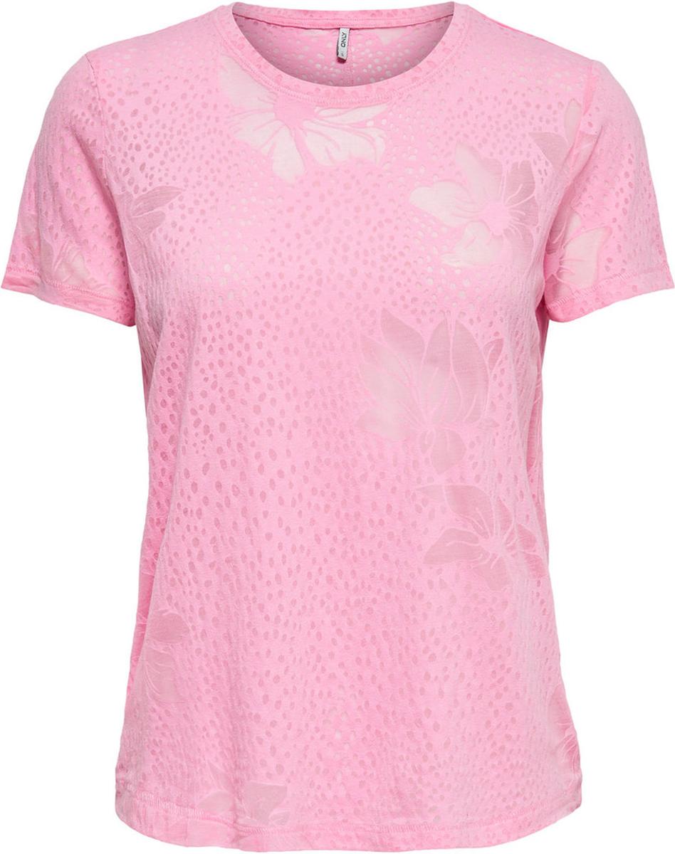 Купить Футболка женская Only, цвет: розовый. 15151013. Размер M (44)