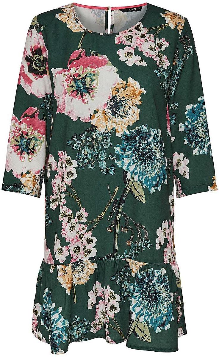 Платье Only, цвет: зеленый. 15153525. Размер 34 (40)15153525Платье от Only выполнено из полиэстера. Модель с рукавами 3/4 и круглым вырезом горловины на спинке застегивается на пуговицу.