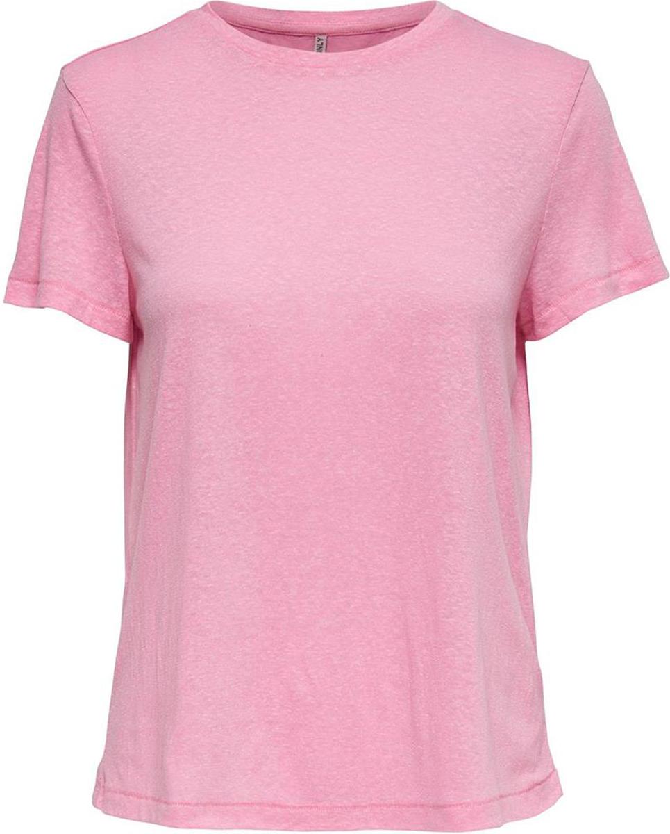 Футболка женская Only, цвет: розовый. 15153555. Размер XL (52)15153555Футболка от Only выполнена из хлопкового трикотажа. Модель с короткими рукавами и круглым вырезом горловины.