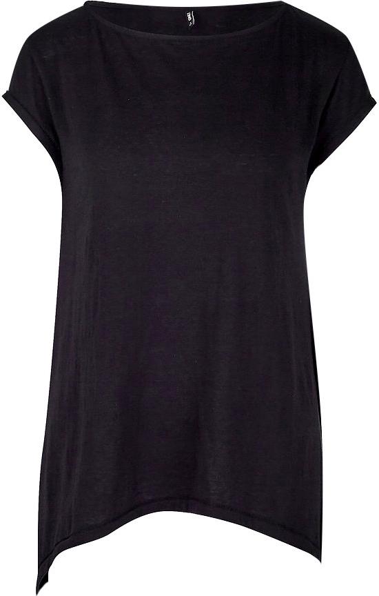 Футболка женская Only, цвет: черный. 15153568. Размер M (44)15153568Удлиненная футболка от Only с асимметричным подолом выполнена из хлопкового трикотажа. Модель с короткими цельнокроеными рукавами и круглым вырезом горловины.