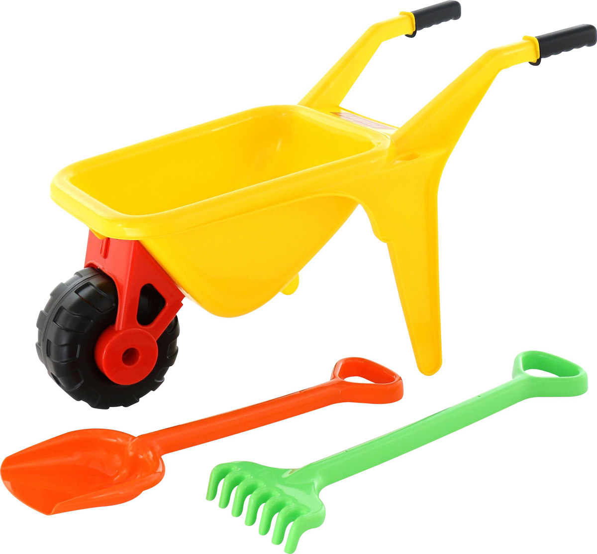 Полесье Набор игрушек для песочницы Тачка Садовод с лопатой и граблями цвет желтый marvel набор игрушек для песочницы софия прекрасная 1