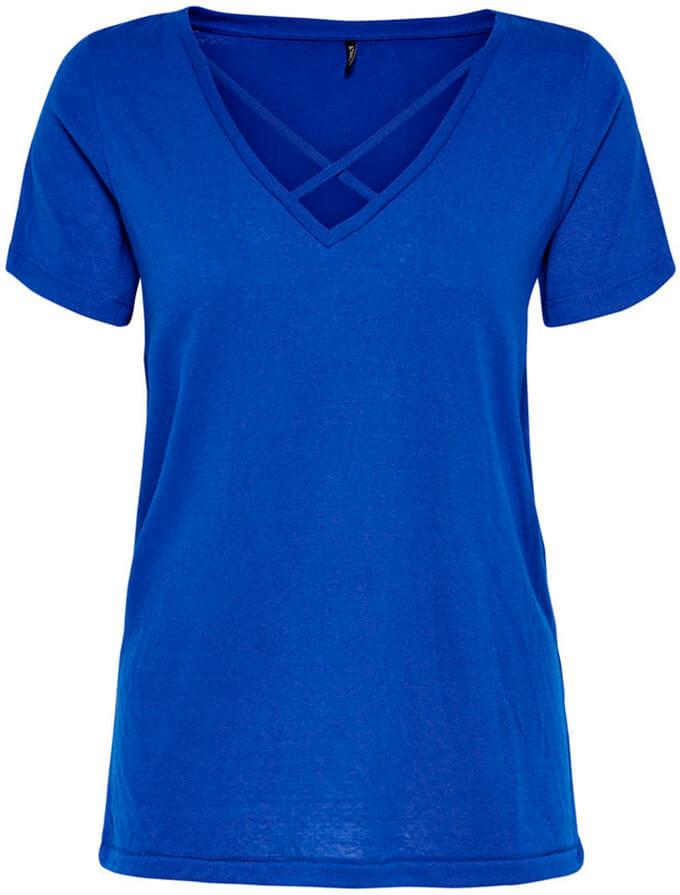 Футболка женская Only, цвет: синий. 15153569. Размер S (42)15153569Футболка от Only выполнена из хлопкового трикотажа. Модель с короткими рукавами и V-образным вырезом горловины.