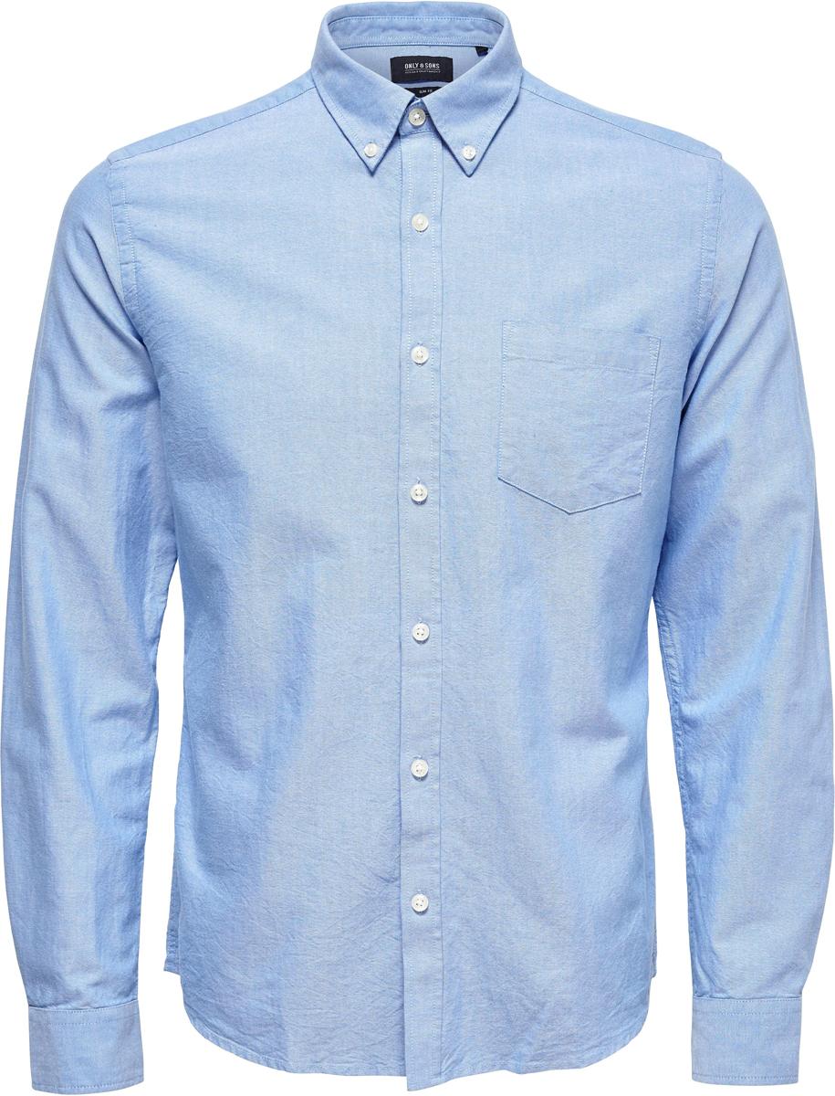 Купить Рубашка мужская Only & Sons, цвет: синий. 22006479. Размер M (48)