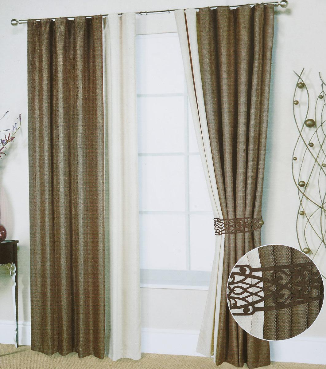 Комплект штор Кашарель, на ленте, цвет: светло-коричневый, кремовый, высота 270 см84326_светло-коричневый, кремовый