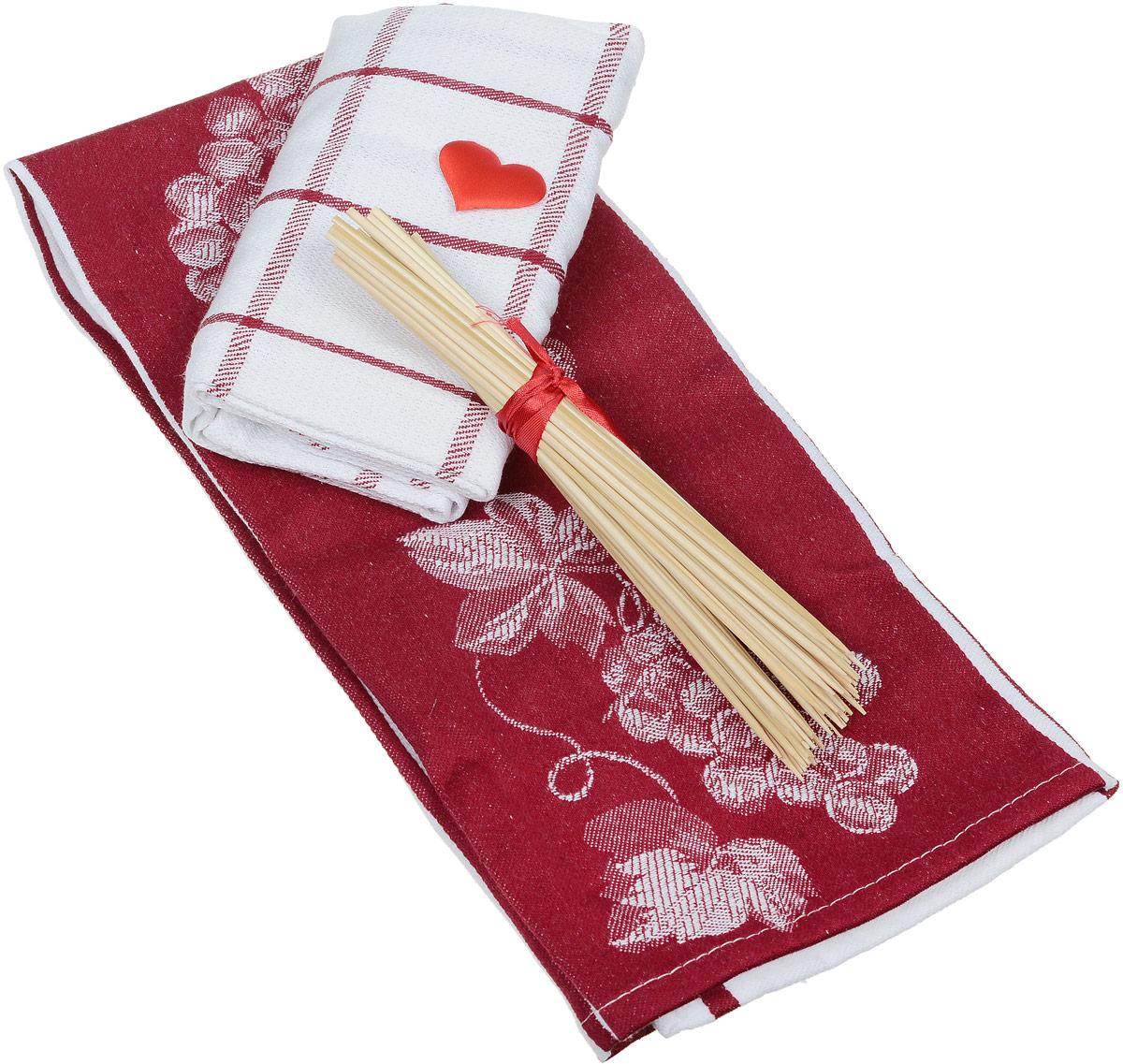 """Подарочный набор для кухни Bonita """"Домашний уют. Полоска"""", цвет: бордовый, белый, 3 предмета"""
