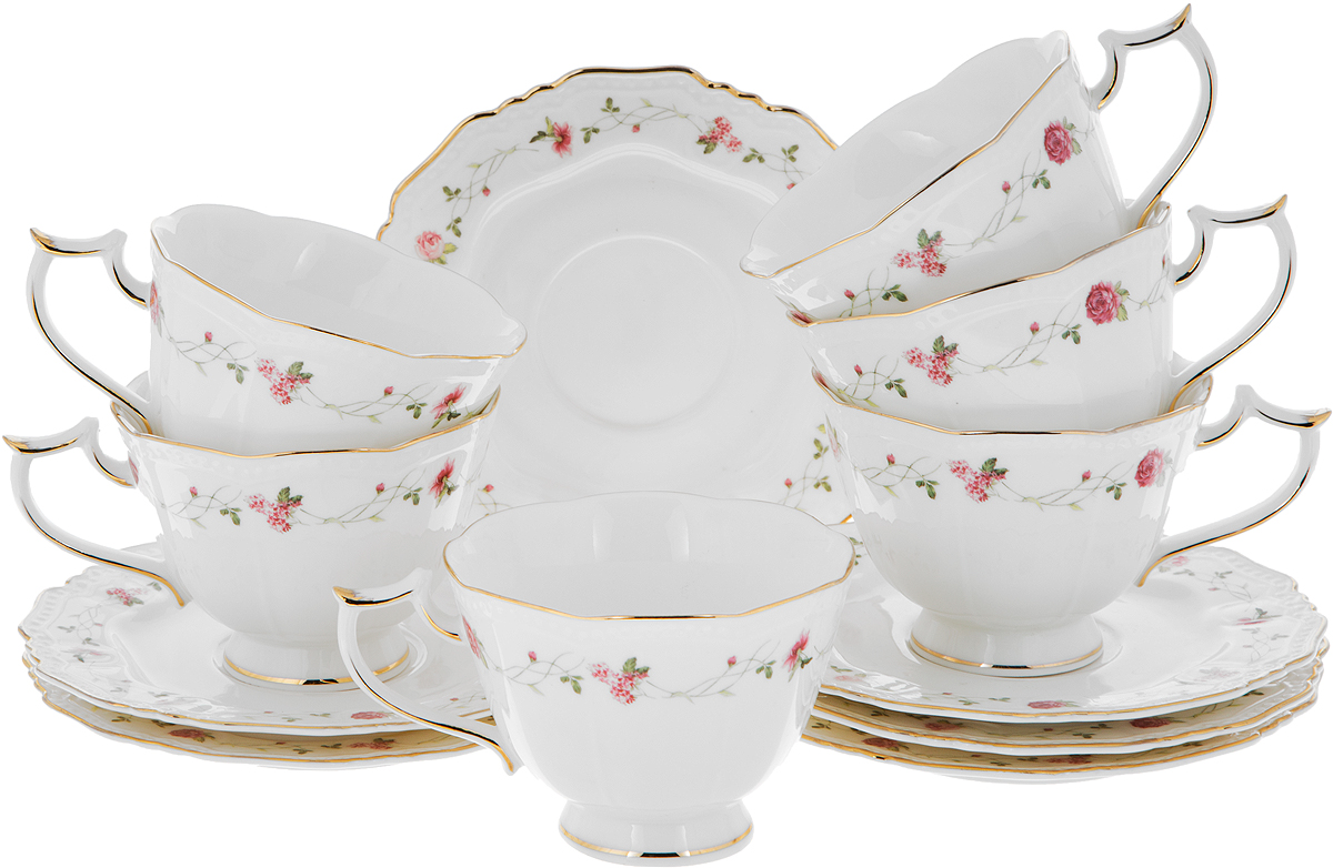 """Чайный набор Elan Gallery """"Нежные розы"""" состоит  из 6  чашек и 6 блюдец. Изделия,  выполненные из высококачественной керамики, имеют элегантный дизайн и классическую круглую форму.   Такой набор прекрасно подойдет как для  повседневного использования, так и для праздников.  Чайный набор Elan Gallery """"Нежные розы"""" - это не  только яркий и полезный подарок для  родных и близких, а также великолепное дизайнерское  решение для вашей кухни или столовой.  Не использовать в микроволновой печи. Объем чашки: 200 мл.  Диаметр чашки (по верхнему краю): 10 см.  Высота чашки: 7,5 см. Диаметр блюдца (по верхнему краю): 15,5 см. Высота блюдца: 1,5 см."""