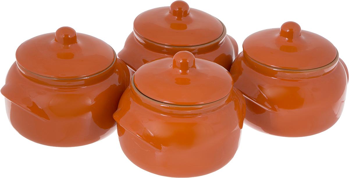 Набор горшочков для запекания Борисовская керамика Новарусса, цвет: оранжевый, 500 мл, 4 штРАД14458172_оранжевыйНабор Борисовская керамика Новарусса состоит из 4 горшочков для запекания.Изделия выполнены из высококачественной керамики с покрытием пищевойглазурью. В качестве сырья использована экологически чистая красная глина.Форма горшочка разработана с учетом тысячелетних традиций наших предков.Пористая структура стенки гарантирует эффект запекания. Форма крышкисохраняет тепловой баланс и полезные свойства продуктов, а также препятствуетразбрызгиванию продукта и попаданию внутрь посторонних продуктов. Горшкиснабжены небольшими ручками.Такой набор горшочков станет отличным подарком и обязательно пригодится влюбом хозяйстве.Посуда жаропрочная. Можно использовать в духовке и микроволновой печи.Диаметр горшочка (по верхнему краю): 10 см.Высота (без учета крышки): 8,5 см.
