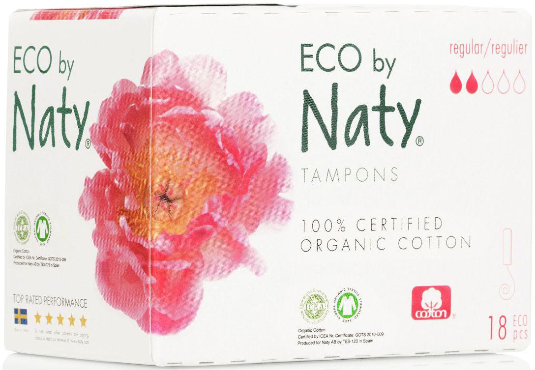 Naty Тампоны Regular, 18 шт7330933245876Тампоны Naty из 100% хлопка и возобновляемой био-основы, без отбеливания хлором, без пластика, ГМО, искусственных материалов - выбор гинекологов и миллионов современных девушек и женщин, заботящихся о своем здоровье и благополучии. Только 100% органический хлопок, и ничего больше. Без отбеливания хлором. Никакого искусственного шелка, пластмасс и красителей! Биоразлагаемость и компостирование.