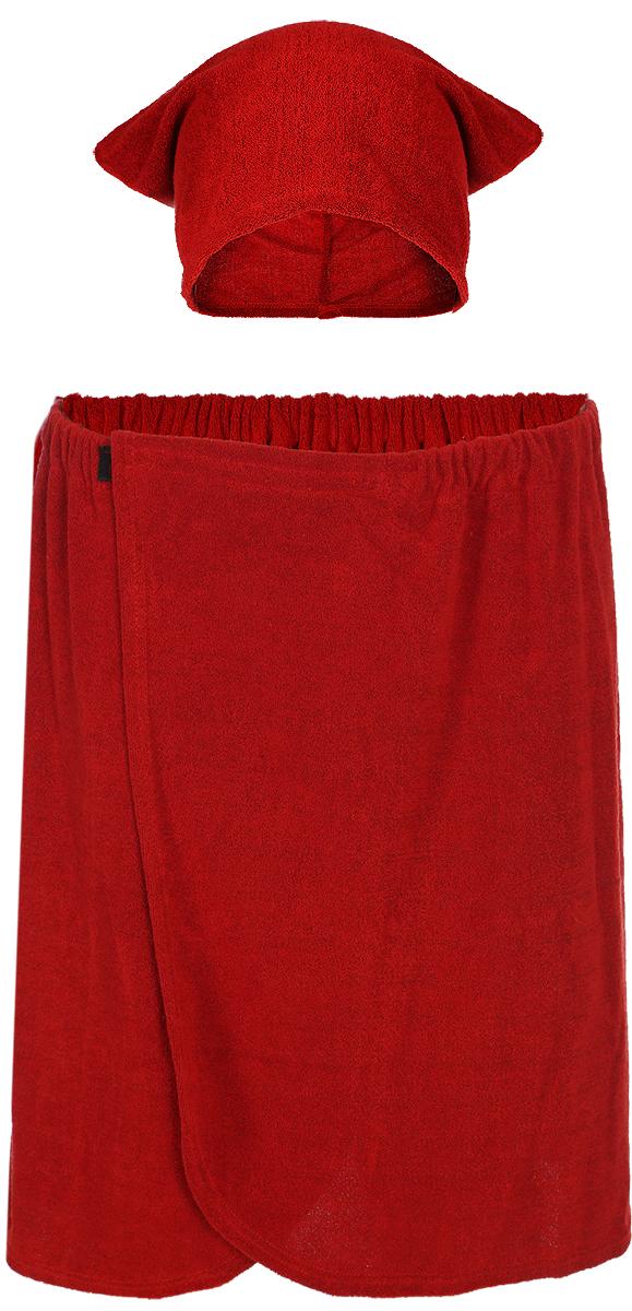 Комплект мужской для бани и сауны Главбаня, цвет: красный, 2 предмета. Б25 корейский канцелярские канцелярские акварель ручка гелевые ручки комплект 10шт цвет kandelia