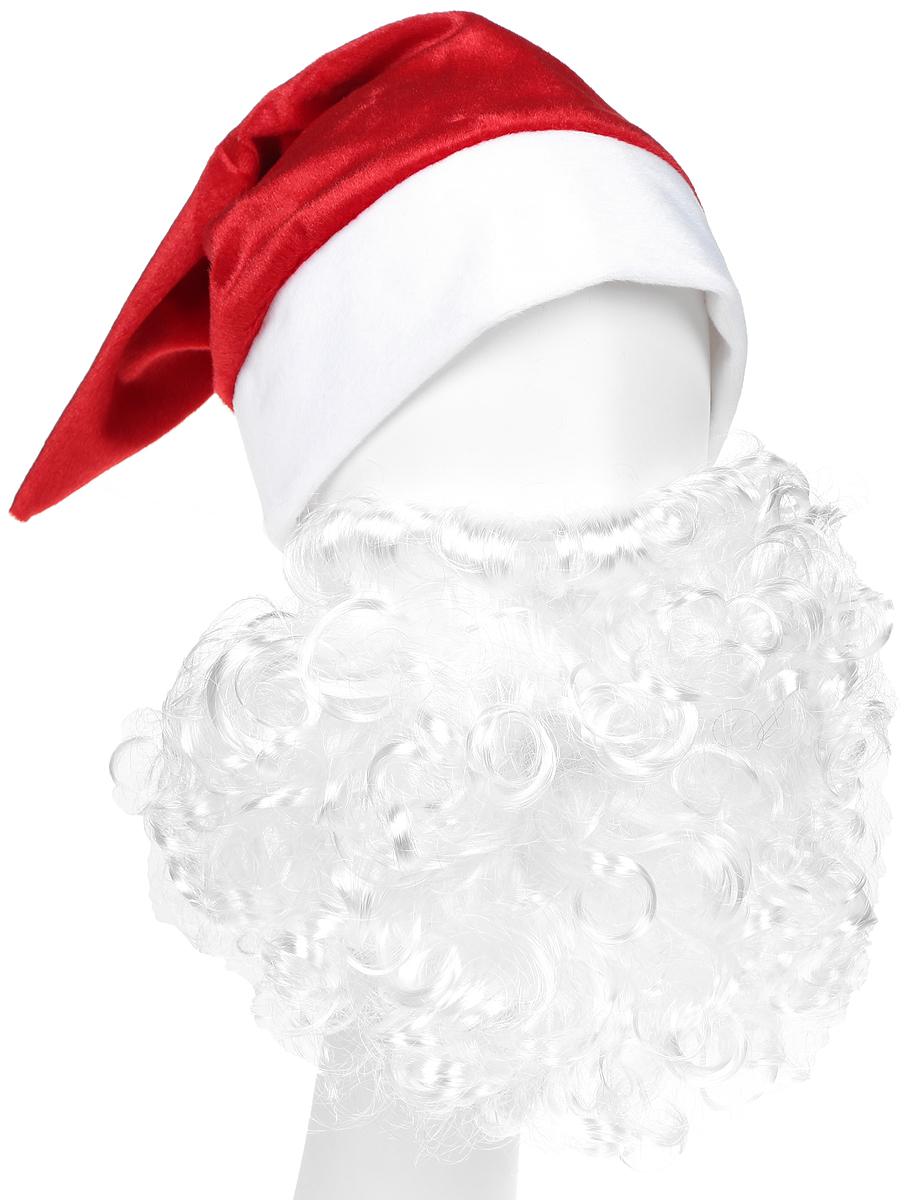 где купить Батик Аксессуар карнавальный для мальчика Колпак новогодний с бородой цвет красный размер 52-56 по лучшей цене