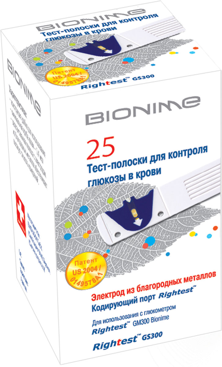 Bionime Тест-полоски для глюкометра Rightest GS-300, 25 шт