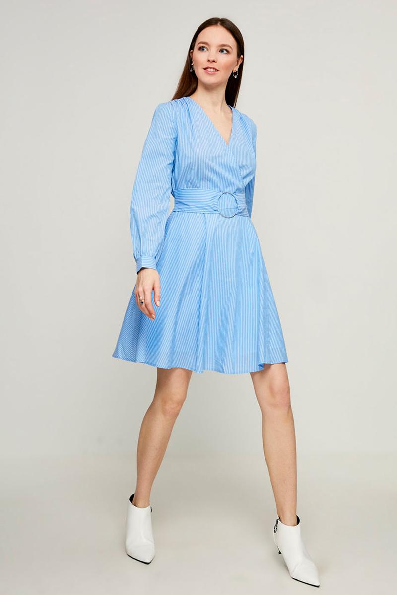 Платье Zarina, цвет: голубой. 8123044544112. Размер 428123044544112Стильное платье от Zarina выполнено из высококачественного хлопка. Модель с длинными рукавами и V-образным вырезом горловины на талии дополнена широким текстильным поясом на металлических кольцах. Манжеты рукавов застегиваются на пуговицы. Данная модель прекрасно сможет подчеркнуть ваш индивидуальный стиль.