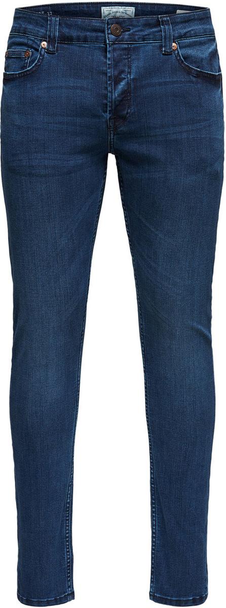 Джинсы мужские Only & Sons, цвет: синий. 22008812. Размер 32-34 (46/48-34)22008812Модные мужские джинсы Only & Sons - джинсы высочайшего качества на каждый день, которые прекрасно сидят.Модель зауженного к низу кроя и стандартной посадки изготовлена из эластичного хлопка. Застегиваются джинсы на пуговицы, также имеются шлевки для ремня.Спереди модель дополнена двумя втачными карманами и одним небольшим накладным кармашком, а сзади - двумя накладными карманами.